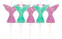 Glitter Mermaid Tail 3cm Pick Candles 5pk