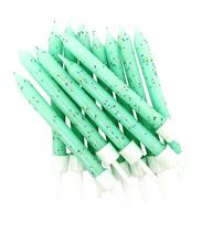 """Mint Green Glitter 3"""" Candles 12pk"""