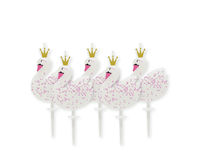 Stylish Swan Party Pick Cake Candles 5pk