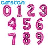 """Pink 16"""" Minishape Foil Number Balloons"""