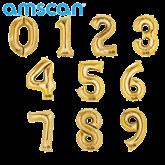 "Gold 16"" Minishape Foil Number Balloons"