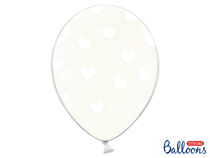 """Crystal Clear 12"""" Latex With White Hearts 6pk"""