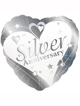 """25th Silver Anniversary Wishes 18"""" Foil Balloon"""
