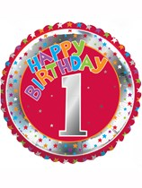 """18"""" Red First Birthday Foil Balloon"""