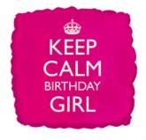 """18"""" Keep Calm Birthday Girl Foil Balloon"""