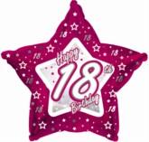 "18th Birthday Pink Star Foil Balloon 18"""