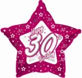 "30th Birthday Pink Star Foil Balloon 18"""
