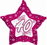 "40th Birthday Pink Star Foil Balloon 18"""
