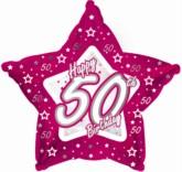 "50th Birthday Pink Star Foil Balloon 18"""