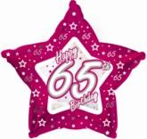 "65th Birthday Pink Star Foil Balloon 18"""