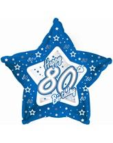 "18"" 80th Birthday Blue Star Foil Balloon"