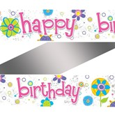 Ditzy Flowers Happy Birthday Foil Banner
