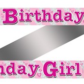 Pink Birthday Girl Holographic Foil Banner