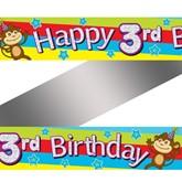 3rd Birthday Monkey Foil Banner