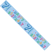Colourful 7th Birthday Balloons Foil Banner