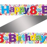 Colourful 8th Birthday Foil Banner