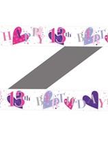 13th Birthday Purple Pink Heart Foil Banner