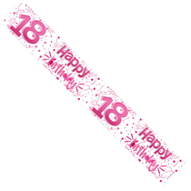 Pink Happy 18th Birthday Foil Banner