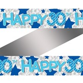 Blue 30th Birthday Holographic Foil Banner