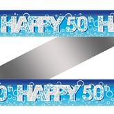 Blue Bubbly 50th Birthday Banner