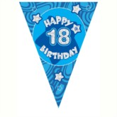 Blue Holographic 18th Birthday Flag Banner