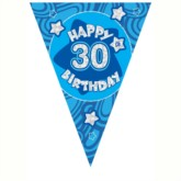 Blue Holographic 30th Birthday Flag Banner