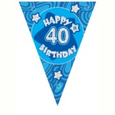Blue Holographic 40th Birthday Flag Banner