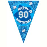 Blue Holographic 90th Birthday Flag Banner