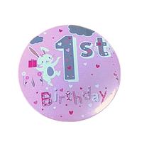 Pink 1st Birthday Bunny Rabbit Jumbo Badge
