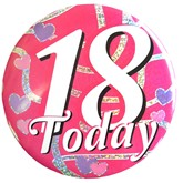 Pink 18 Today Holographic Big Badge