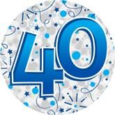 40th Birthday Holographic Big Badge