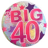 Pink Big 40 Holographic Big Badge