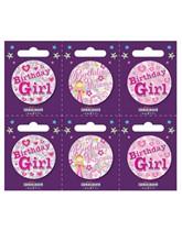 Birthday Girl Small Badges 6pk