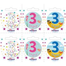 Small 3rd Birthday Badges 6pk
