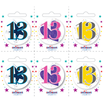 Small 13th Birthday Badges 6pk