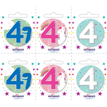 Small 4th Birthday Badges 6pk