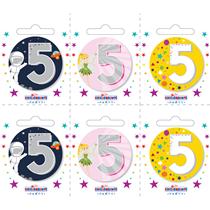 Small 5th Birthday Badges 6pk