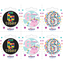 Small 6th Birthday Badges 6pk