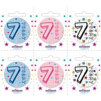 Small 7th Birthday Badges 6pk