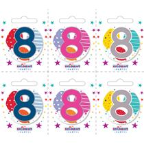 Small 8th Birthday Badges 6pk