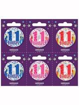 Small 11th Birthday Badges 6pk
