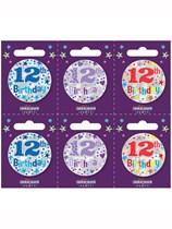 Small 12th Birthday Badges 6pk