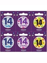 Small 14th Birthday Badges 6pk