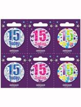 Small 15th Birthday Badges 6pk