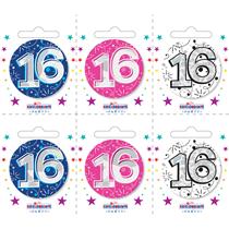 Small 16th Birthday Badges 6pk