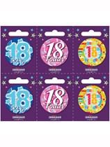 Small 18th Birthday Badges 6pk