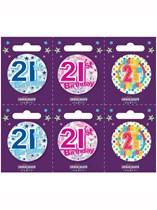 Small 21st Birthday Badges 6pk