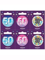 Small 50th Birthday Badges 6pk