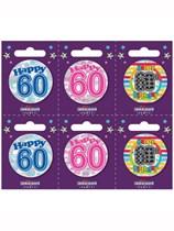 Small 60th Birthday Badges 6pk