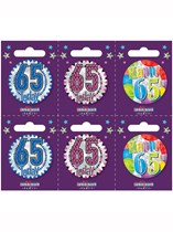 Small 65th Birthday Badges 6pk